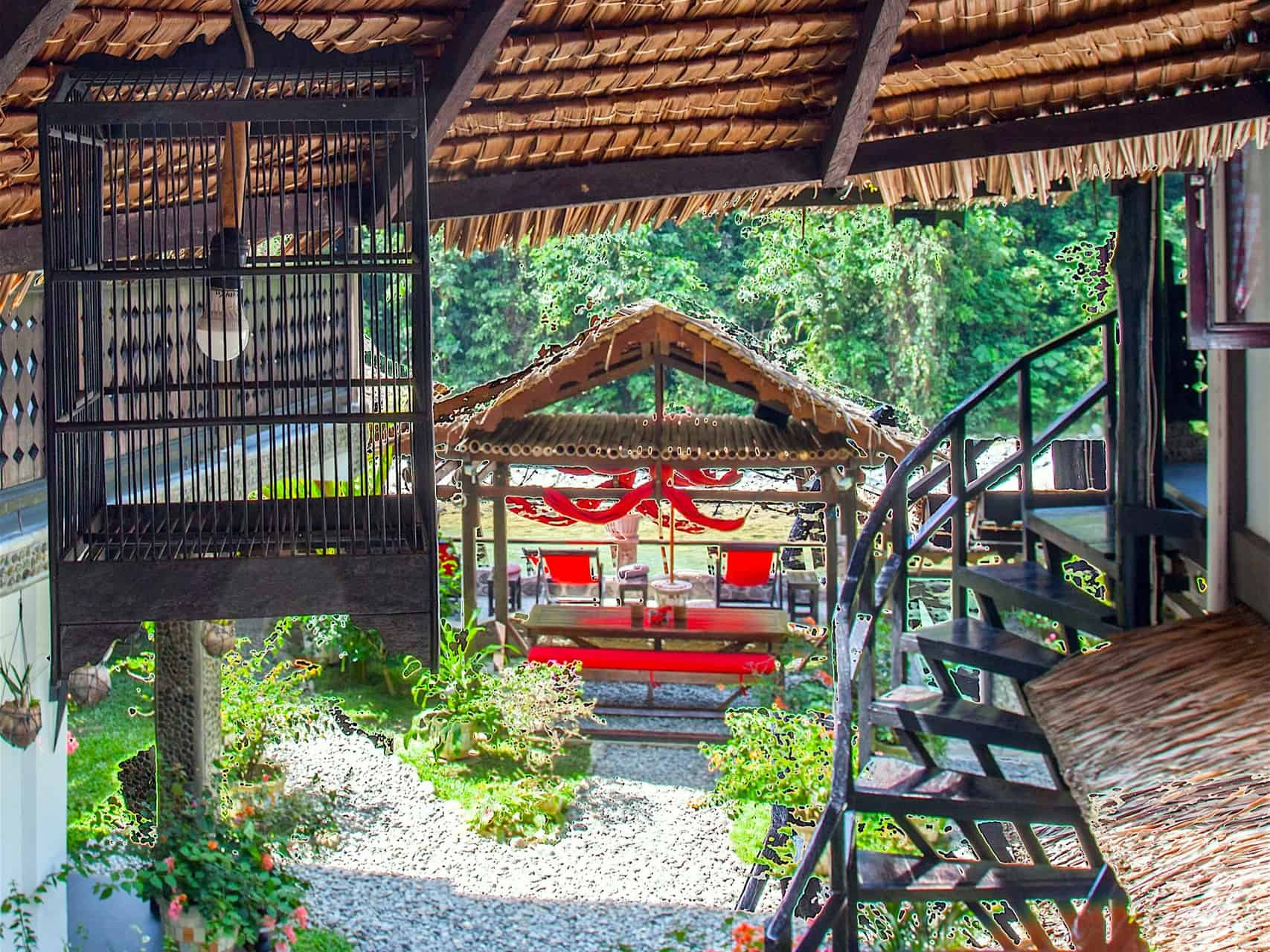 BUDGET ROOM IN BUKIT LAWANG - VIEW FROM THE BALCONY OF BATAK ROOM AT ECOTRAVEL COTTAGES - SUMATRA ECOTRAVEL