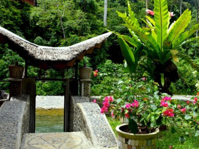 STAIRS TO THE RIVER AT ECOTRAVEL COTTAGES BUKIT LAWANG - SUMATRA ECOTRAVEL