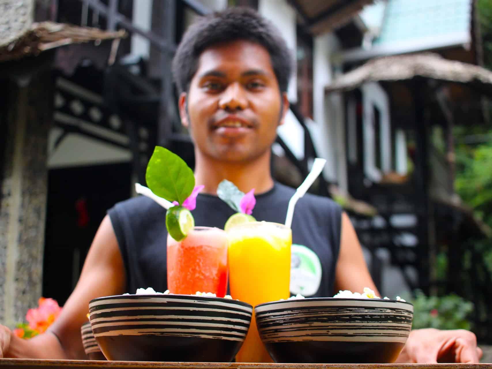 POPCORN AND FRUIT JUICE AT ECOTRAVEL COTTAGES BUKIT LAWANG - SUMATRA ECOTRAVEL