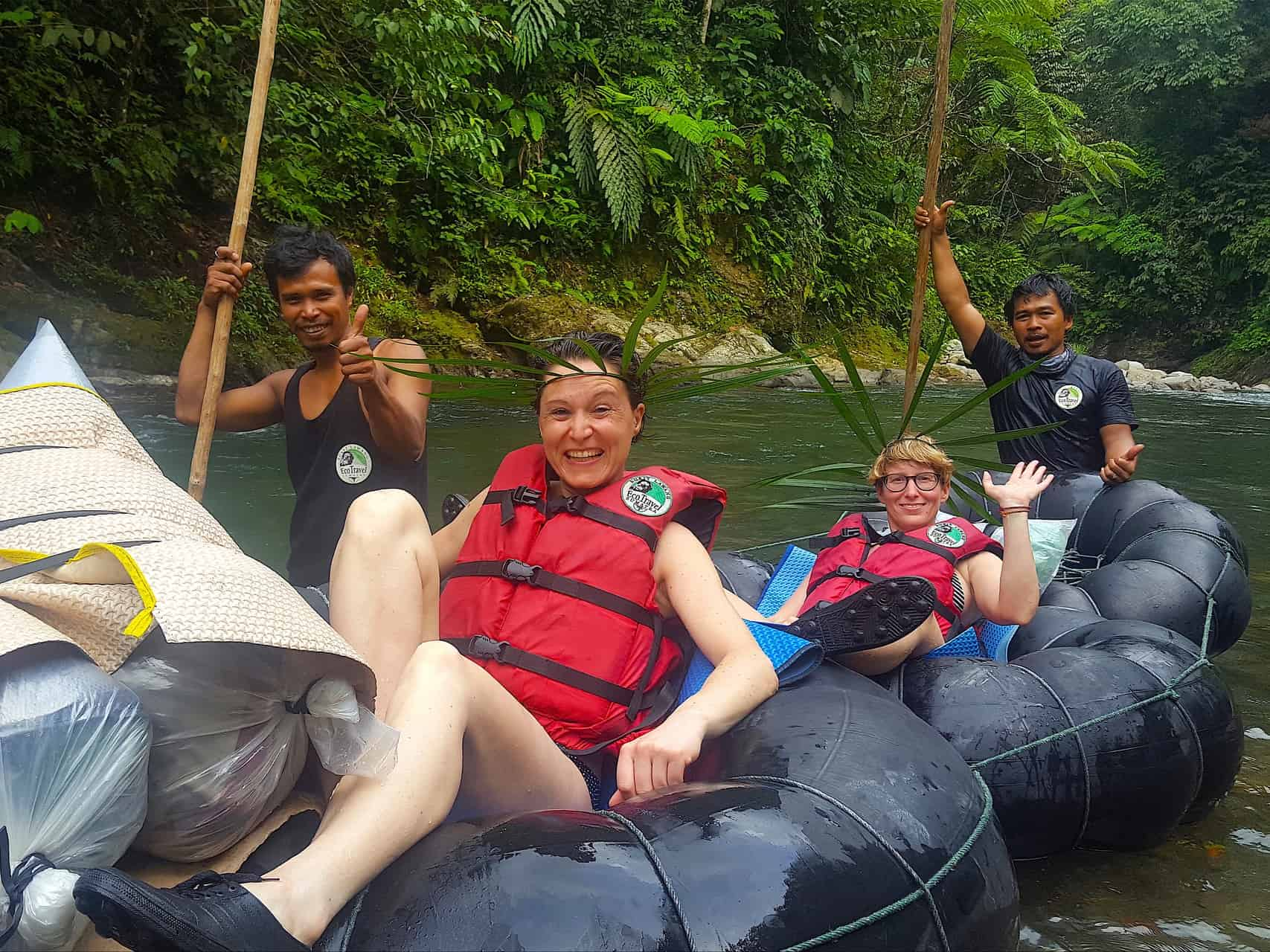 TUBE-RAFTING FUN AFTER TREKKING IN BUKIT LAWANG - SUMATRA HIGHLIGHTS BY SUMATRA ECOTRAVEL